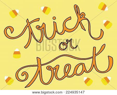 Happy Halloween Trick or Treat Candy Corn