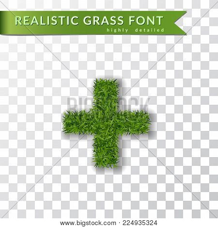 Grass symbol plus. Green plus, isolated on white transparent background. Green grass 3D plus, fresh symbol of nature, plant lawn, summer. Grass texture spring font. Eco design Vector illustration