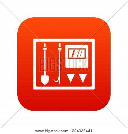Fire shield icon digital red for any design isolated on white vector illustration