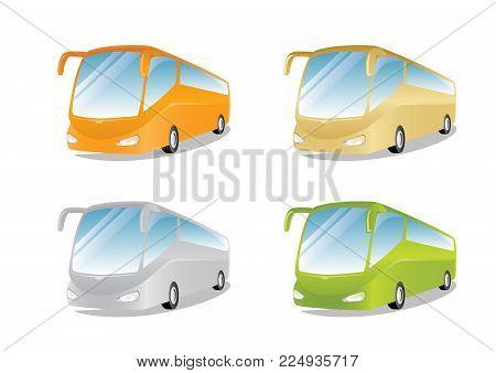 Set Of Colored Modern Buses, Vector Illustration