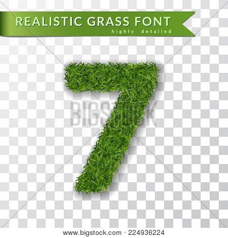 Grass number seven. Green number 7, isolated on white transparent background. Green grass 3D seven, fresh symbol nature, plant lawn, summer. Grass texture spring font. Eco design Vector illustration