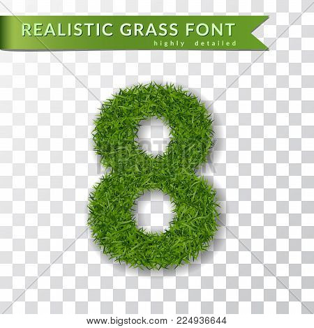 Grass number eight. Green number 8 isolated white transparent background. Green grass 3D eight, fresh symbol of nature, plant lawn, summer. Grass texture spring font. Eco design Vector illustration