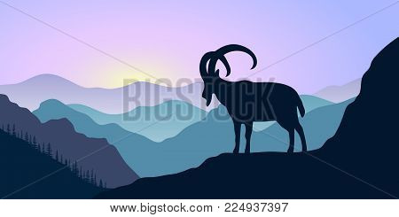 Mountains, alpine ibex and forest at sunrise. landscape with silhouettes. Vector illustration. hills, trees, mist, sun beam, goat with sunrise sky. For prints, posters, wallpapers web background