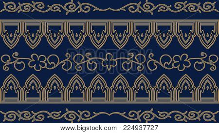 Abstract blue background with gold patterns, raster image  is computer graphics and can be used in the design of textiles, in the printing industry, in a variety of design projects