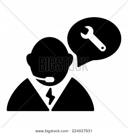 car service. call center isolated icon on white background. auto service. car repair. Solid design.