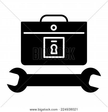 tools case icon. Repairer and master icon. Flat solid vector icon. isolated on white. Eps 10.