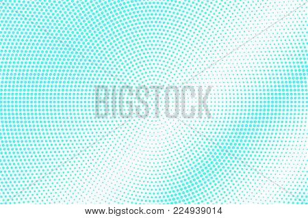 Blue White Dotted Halftone. Halftone Vector Background. Shiny Subtle Dotted Gradient. Retro Futurist