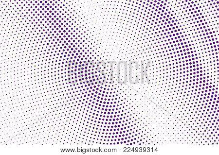 Purple White Dotted Halftone. Halftone Vector Background. Diagonal Faded Dotted Gradient. Retro Futu