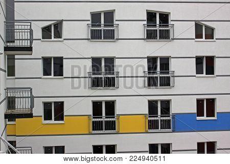 Modern residential building in the prestigious district. Horizontal photo