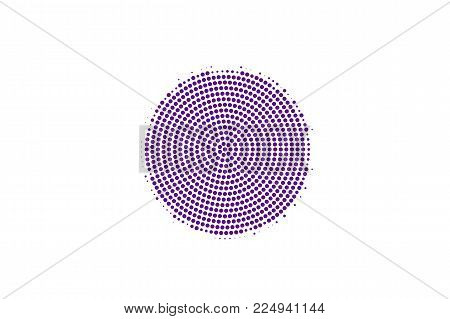 Purple White Dotted Halftone. Halftone Vector Background. Frequent Circle Dotted Gradient. Retro Fut