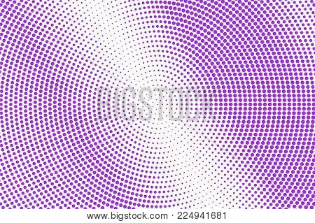 Violet White Dotted Halftone. Halftone Vector Background. Diagonal Textured Dotted Gradient. Retro F