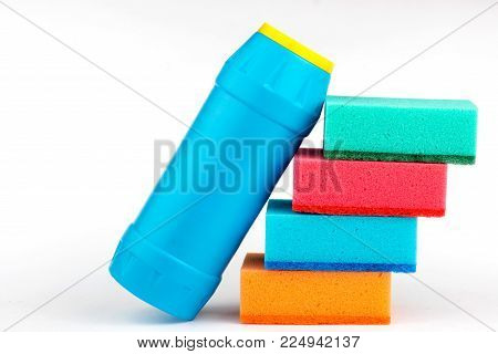sponge for washing dishes and detergent. sponge