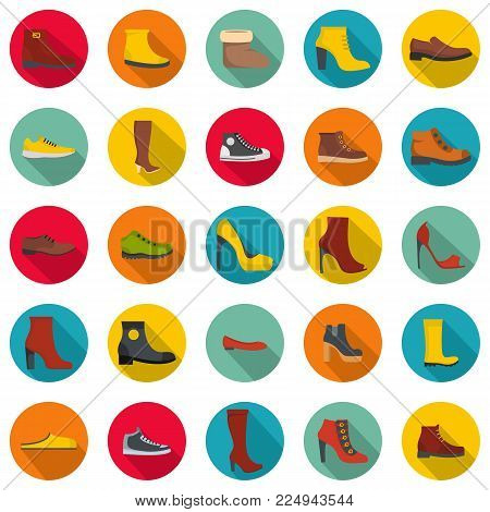 Footwear shoes icon set. Flat illustration of 25 footwear shoes vector icons circle isolated on white