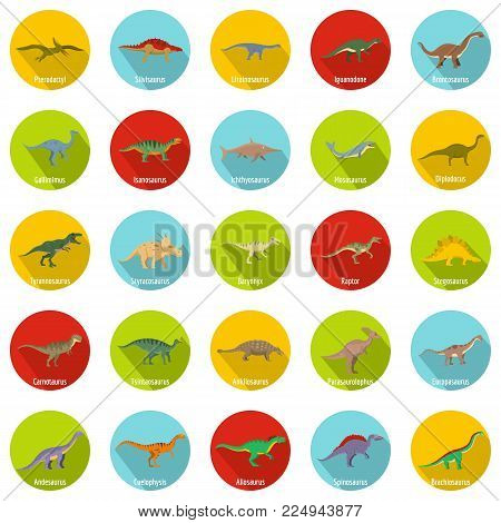 Dinosaur types signed name icons set. Flat illustration of 25 dinosaur types signed name vector icons circle isolated on white