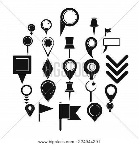 Map pointer icons set. Simple illustration of 25 map pointer vector icons for web
