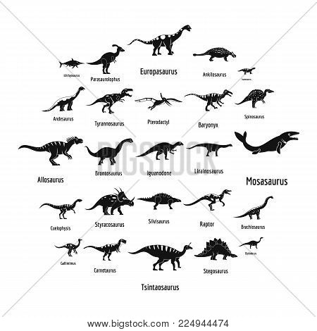 Dinosaur types signed name icons set. Simple illustration of 25 dinosaur types signed name vector icons for web