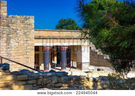 Old Walls Of Knossos Near Heraklion. The Ruins Of The Minoan Palaces Is The Largest Archaeological S