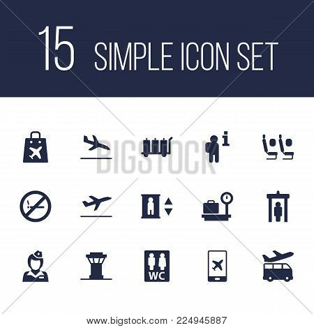 Set of 15 airplane icons set. Collection of restroom, stewardess, duty free and other elements.