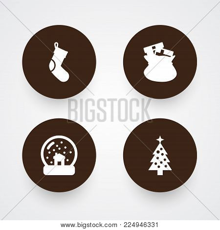 Set of 4 holiday icons set. Collection of socks, fir, magic sphere and other elements.