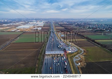 Aerial Drone View On Toll Collection Point
