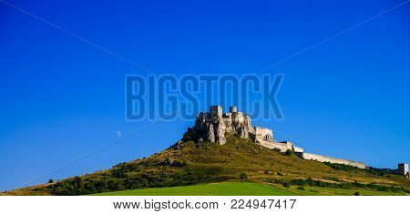 View on the ruins of Spis Castle in Slovakia - one of the biggest European castles by area