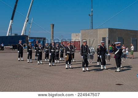 Korsor Denmark - August 22. 2015: Danish Navy Orchestra Playing At Open House In Korsoer Naval Base