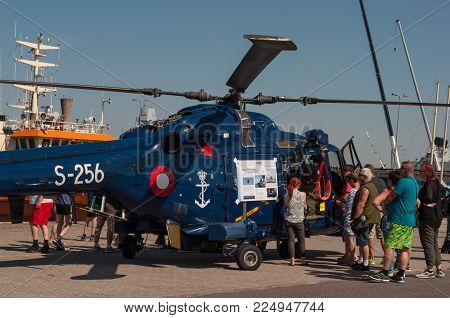 Korsor Denmark - August 22. 2015: Lynx Naval Helicopter From Squadron 723 Of The Royal Danish Air Fo