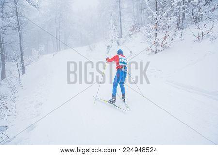 Nordic Ski Professional Race In White Winter Nature