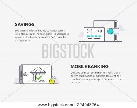 Mobile banking and savings. Wallet with credit card and bank on mobile phone display. Vector flat line illustration design.