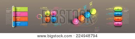 Business infographic template set. Glossy plastic rolled paper, balls, pills. Banner steps, choice chart, cycle, data options, sequence, choice award. 3d realistic Vector Illustration.