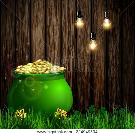 St. Patrick s Day symbol green pot full of gold coins on wooden wall with hanging light bulbs Vector illustration