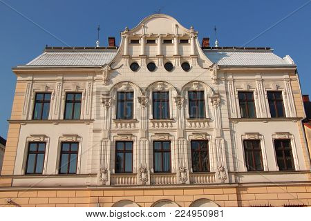 The historic Poczta building in Cieszyn (Poland, Silesia) built in 1909 in the Art Nouveau style.
