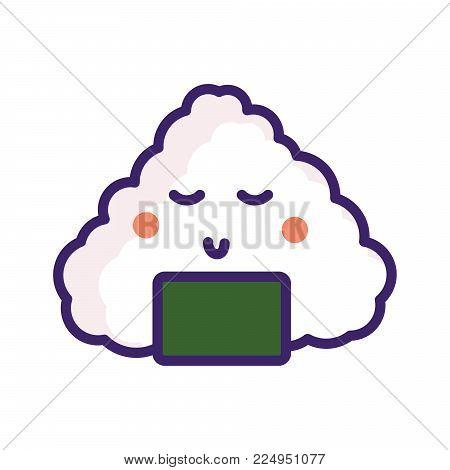Onigiri japan food vector emoji character icon.