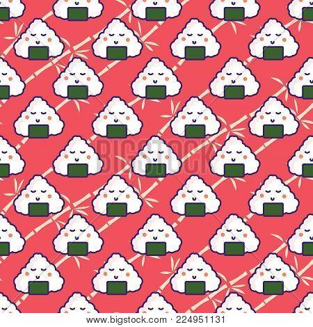 Onigiri rice ball seamless red pattern. Japan food cartoon background.