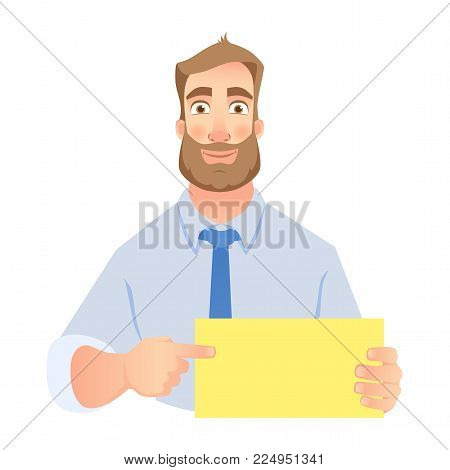 Man holding blank banner. Man pointing at blank poster. Vector set