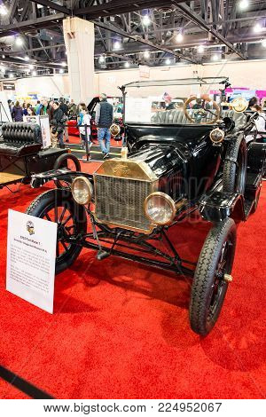 PHILADELPHIA, PA - Feb 3: a 1915 Ford Model T at the 2018 Philadelphia Auto Show