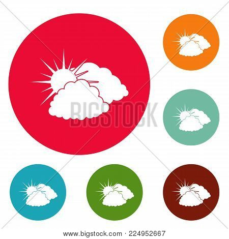 Dark cloudy sun icons circle set vector isolated on white background