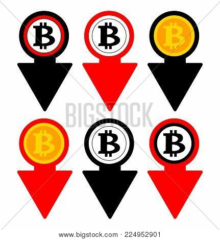 Bitcoin rate falling color icon. Cryptocurrency with down arrow. Bit coin collapse Falls Down symbol. Vector Illustration