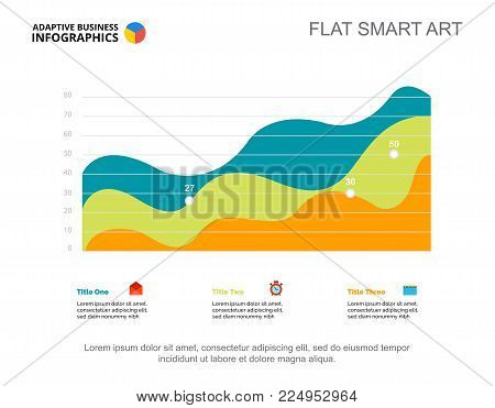 Three area charts. Business data. Growth, performance, design. Creative concept for infographic, templates, presentation. Can be used for topics like marketing, production, analysis.