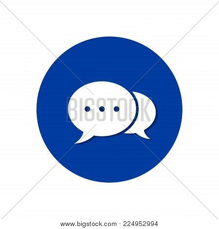Speech bubble icon isolated on blue round background. Vector button.