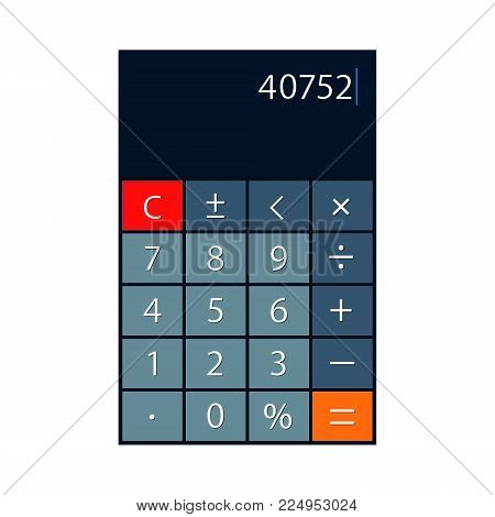 Smartphone calculator app vector isolated realistic illustration.