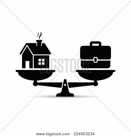 Home and business scales icon. Weight between work, money and your family. Career and family on the scales. Balance your life business concept. Family or money. Vector.