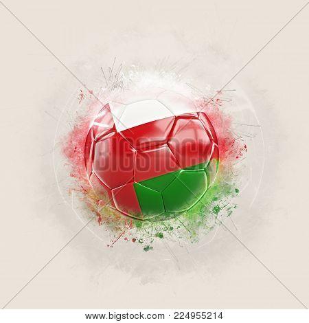 Grunge Football With Flag Of Oman