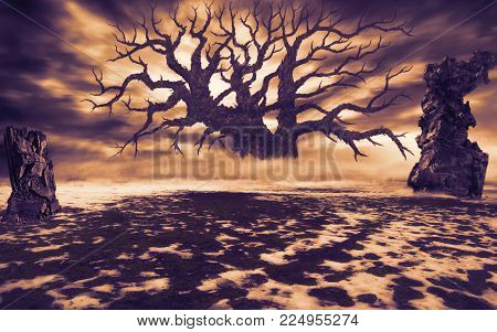Big dead tree in a clearing with ruins. Natural disaster and post-apocalyptic theme. Orange color. Floating clouds at sunset.