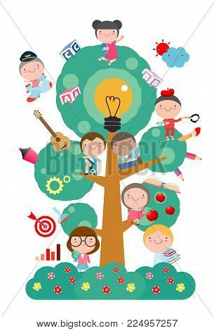 kids studying on tree with different education object,School tree of knowledge and children education, Flat style vector illustration