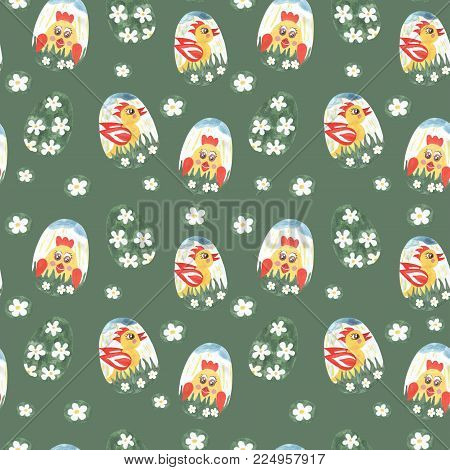 Hand paint watercolor Easter seamless pattern with egg. Seamless pattern with Easter egg. Watercolor pattern.