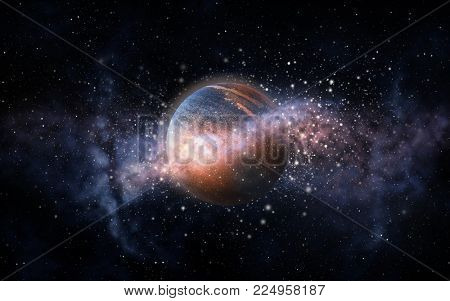 skyscape and astronomy concept - planet and stars in space poster