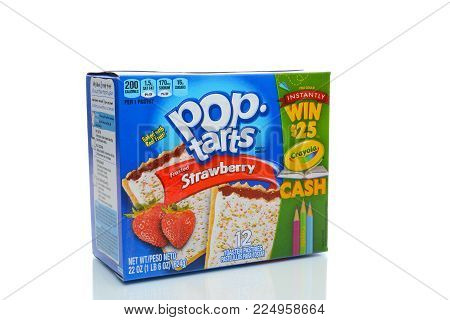 IRVINE, CA - JANUARY 4, 2018: Strawberry Pop Tarts. a brand pre-baked, convenience food toaster pastries that the Kellogg Company introduced in 1964.
