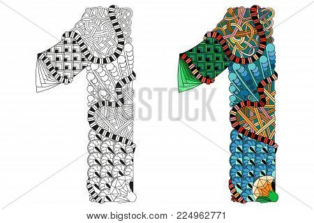 Hand-painted art design. Number one zentangle objects. Colored and outline set