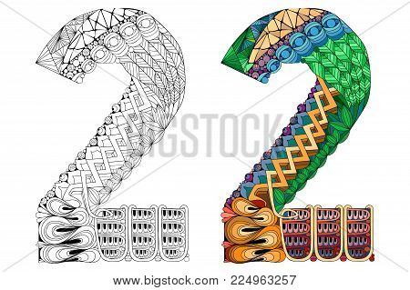 Hand-painted art design. Number two zentangle objects. Colored and outline set